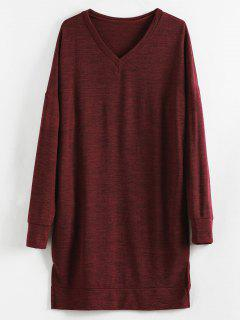 V Neck Drop Shoulder Knit Slit Dress - Firebrick L
