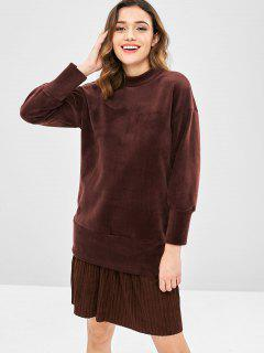 Fleece Samt Plissee Sweatshirt Kleid - Tiefkaffee
