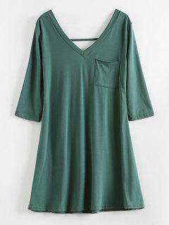 V Zurück Plunge Mini T-Shirt Kleid - Mittleres Meer Grün S