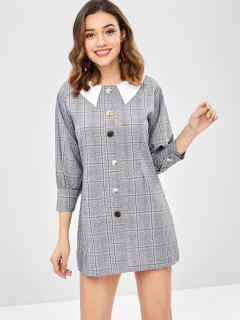 Flat Collar Buttoned Plaid Dress - Multi
