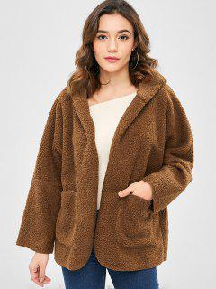 Pocket Oversized Fluffy Faux Fur Teddy Coat - Brown