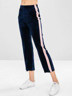 Casual Velvet Contrast Pants - Midnight Blue M