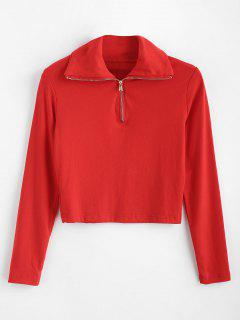 Long Sleeve Quarter Zip Cropped Tee - Red L