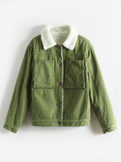 Shearling Lined Boxy Pocket Jacket - Fern Green M
