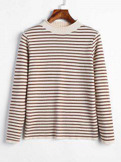 Mock Neck Stripe Pullover - Beige