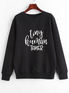 Contrast Lettering Graphic Pullover Sweatshirt - Black M
