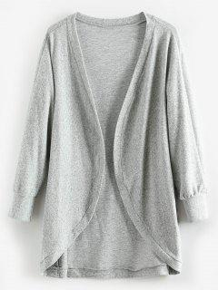 Batwing Open Tunic Cardigan - Light Gray L
