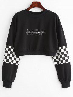 Checkered Graphic Cropped Sweatshirt - Black L