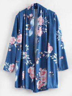 Floral Open Tunic Cardigan - Blue L