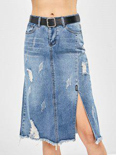Ripped Frayed Pencil Denim Skirt - Denim Blue L