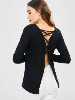 Pullover Schnüren Sich Hinten Pullover - Schwarz S