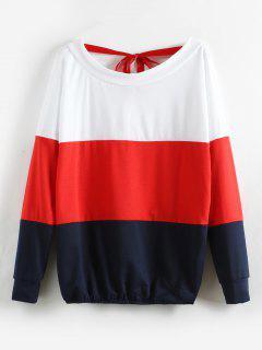 Farbblock V Zurück Surplice Sweatshirt - Rot Xl