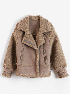 Faux Shearling Biker Winter Coat - Camel Brown S