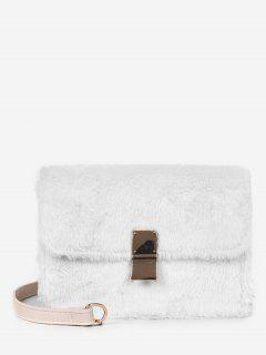 Faux Fluff Magnetic Snap Design Crossbody Bag - White