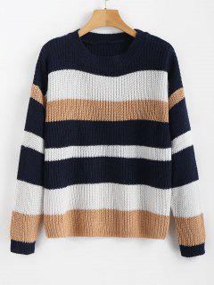 Lässiger Drop Schulter Streifen Pullover - Multi L
