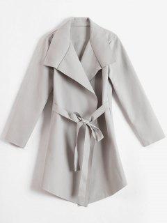 Faux Wolle Tie Taille Wrap Coat - Hellgrau L