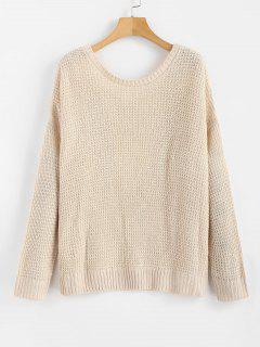 Offener Rücken Lattice Sweater - Champagner M
