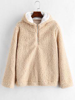 Faux Fur Zipped Fluffy Hoodie - Camel Brown L