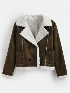 Double Breasted Faux Shearling Winter Jacket - Dark Khaki L