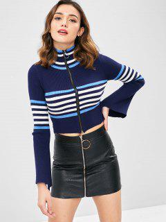 Flare Sleeves Striped Crop Cardigan - Deep Blue S