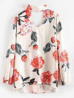 Gargantilla Estampado De Flores Blusa Cortada - Multicolor-b M