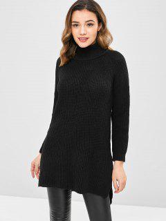 Vestido De Suéter Dividido En Color Liso - Negro