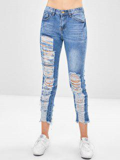 Middle Waist Ripped Jeans - Denim Blue S