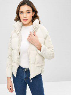 Raglan Sleeve High Low Hem Padded Coat - Beige 2xl