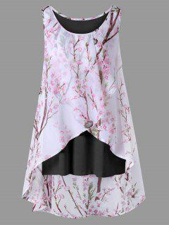 Plus Size Tiny Floral Overlap Sleeveless Top - Black 2xl