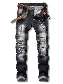 Ripped Hole Splicing Jeans - Black 36