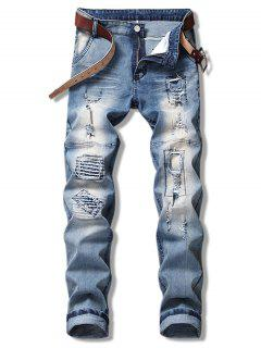 Ripped Hole Splicing Jeans - Blue Gray 38