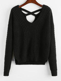 Criss Cross Plain Cable Knit Sweater - Black