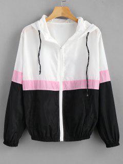 Color Block Windbreaker Hooded Jacket - Multi L