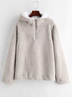 Faux Fur Zipped Fluffy Hoodie - Gray Goose M
