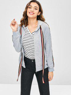 Striped Ribbon Embellished Hoodie Jacket - Gray Cloud L