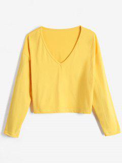 Solid Color V Neck Loose Crop Top - Bright Yellow Xl