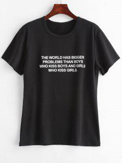 Text Print Graphic Jersey T-Shirt - Black L