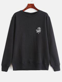 Floral Print Graphic Pullover Sweatshirt - Black M
