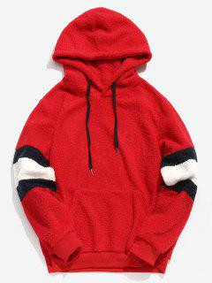 ZAFUL Contrast Stripe Pullover Fluffy Hoodie - Rosso Red L
