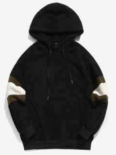 ZAFUL Contrast Stripe Pullover Fluffy Hoodie - Black M