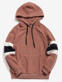 ZAFUL Contrast Stripe Pullover Fluffy Hoodie - Khaki Rose M