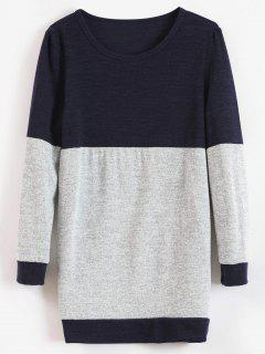 Knitted Tunic Two Tone Sweater - Midnight Blue L
