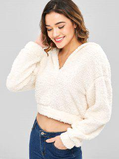 ZAFUL Plain Fluffy Faux Shearling Teddy Hoodie - Warm White S