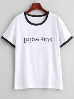 Camiseta Ringer Con Gráfico De Manga Corta - Blanco M