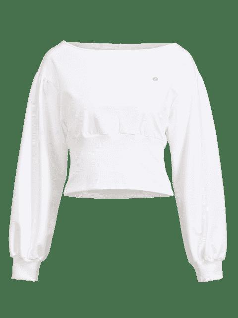 ZAFUL Drop Schulter Slash Neck Sweatshirt - Milchweiß S Mobile