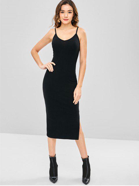 buy Slit Spaghetti Strap Dress - BLACK ONE SIZE Mobile