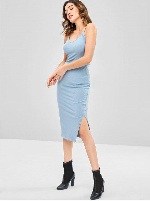 best Slit Spaghetti Strap Dress - BABY BLUE ONE SIZE Mobile