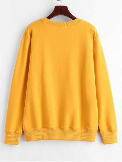 affordable Text Print Pullover Graphic Sweatshirt - MUSTARD L Mobile