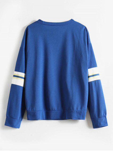 new Contrast Loose Drop Shoulder Sweatshirt - BLUE M Mobile