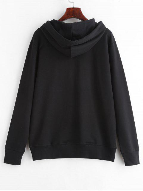 outfit Slogan Pouch Pocket Pullover Graphic Hoodie - BLACK M Mobile